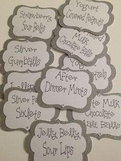 Candy Buffet tags. #weddingtags #candybuffet #slivertags