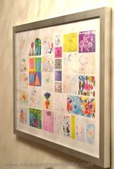 Idée de cadeau pour grands-parents d'artistes en herbe , Un encadrement des meilleurs dessins des enfants.
