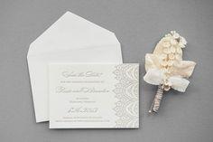 Aerialist Press // Chantilly Letterpress Wedding Invitation // Lace Invitation, Vintage, Classic, Feminine
