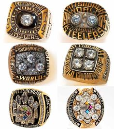 All six of the Steelers' Super Bowl rings. Yes, that's Terry Bradshaw's name on one of them. (via Pittsburgh Steelers Fans) Steelers Super Bowl Rings, Steelers Rings, Steelers Gear, Here We Go Steelers, Steelers Stuff, Steelers Raiders, Oakland Raiders, But Football, Pittsburgh Steelers Football