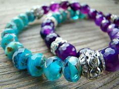 Capri Blue and Purple Stretch Bracelet, Deep Purple Agate, Czech Glass, Clear Rhinestone Stacking Bracelet, Beaded Handmade Jewelry by BeJeweledByCandi, $36.00
