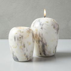 Marbleized Vases Sculpted Wax Candles