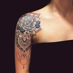 46 Awesome Mandala Tattoo Designs To Get Inspired body art tattoos, mandala tattoos, shoulder tattoos, sleeve tattoo design Tattoo Girls, Girl Thigh Tattoos, Tattoos For Guys, Shoulder Tattoos For Women Sleeve, Small Tattoos, Girls With Sleeve Tattoos, Tattoo Thigh, Diy Tattoo, Lace Tattoo