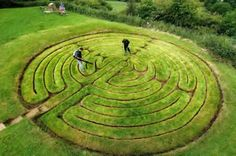 """""""Alkborough: A rare medieval earth and grass maze is restored and returfed to protect its ancient design in North Lincolnshire. The maze known as Julian's Bower is cut into the landscape with its twisting and turning labyrinth of interlocking rings measuring 44ft across."""""""