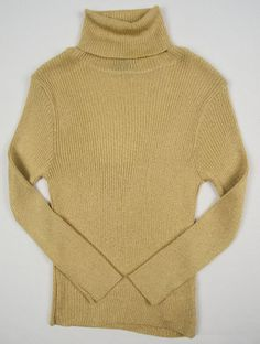 DG Girls Sweater Size 26/40 4 Slim Fit Gold Metallic Turtle Neck Kids #DG