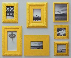 yellow and grey wall decor frames and photos