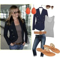 Navy blazer, gray tank, camel accessories....good summer to fall transition.