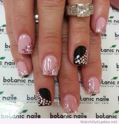 bling nail designs, two hands with short square nails, painted in pink and black, each decorated with rhinestones Cute Acrylic Nail Designs, Pretty Nail Designs, Cute Acrylic Nails, Cute Nails, Rhinestone Nails, Bling Nails, Glitter Nails, My Nails, Fabulous Nails
