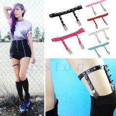 Sexy Harajuku Elastic Garter Belt Punk Gothic Leather Studded Rivets Leg Ring #Unbranded