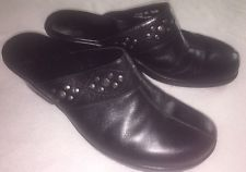Women's CLARKS Slip-Ons  Clogs shoes Black Leather 9m