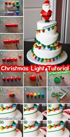 Easy and cute fondant Christmas lights tutorial for cake decorating. How to step by step instructions, making fondant Christmas Lights for a fondant cake. Christmas Cake Decorations, Christmas Sweets, Holiday Cakes, Christmas Cooking, Christmas Lights, Christmas Cakes, Christmas Birthday Cake, Fondant Christmas Cake, Christmas Cake Designs