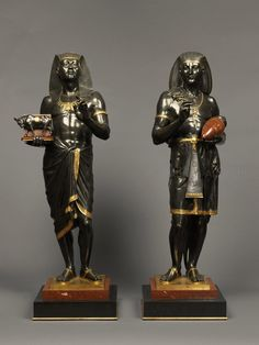 *An Exceptional Pair of Large Multipatinated Egyptian Figural Bronzes By Emile-Louis Picault.French, Circa 1880.