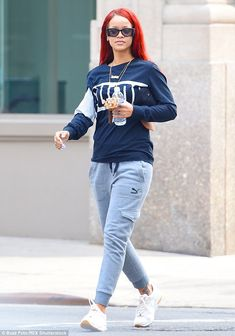 Keeping it casual: Rihanna traded in her elegant Dior attire for a comfortable Puma ensemble when she stepped out into New York on Saturday