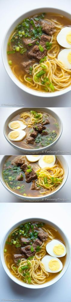 Beef Pares Mami Noodles - a simple noodle soup that is actually a combination of two dishes: beef pares and beef mami. Perfect when it's cold out! | Panlasang Pinoy