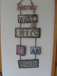 VINTAGE METAL FAMILY WHAT LIFE IS ALL ABOUT CHIC N SHABBY HANGING WALL SIGN