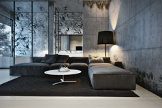 modern concrete living room, love the couch