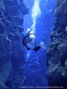 Photo by Prue Sinclair - Diving Silfra in Iceland's - the only place in the World where you can scuba dive between two continental plates.