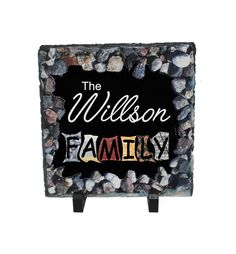 Personalized Family Slate, Home decor, Housewarming Custom family name customized slate, personalized gifts, stone sign, office decor by PHOTOgiftsKALUCAart on Etsy