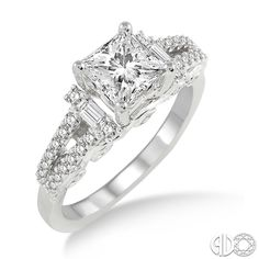 14 Karat White Gold Engagement Ring with a Princess Cut Center Stone | Ashi Style: 14472FRWG-SM