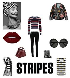 """Stripes shirt"" by neve-silente ❤ liked on Polyvore featuring Yves Saint Laurent, Topshop, Diesel, Caroline De Marchi, Gucci, Lime Crime, Linda Farrow and stripes"