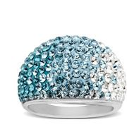 Luminesse Dome Ring in Sterling Silver with Faded Blue to White Swarovski Elements