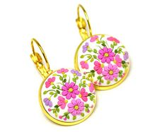 Floral-earrings Gift-for-girlfriend Gift-for-her Polymer Clay