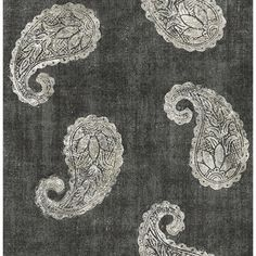 Kashmir Charcoal Paisley   This paisley wallpaper has a dramatic look with a high contrast color palette and large scale print. Metallic silver ink adorns the boteh motifs, adding a glamorous shimmer.