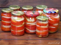Sałatka z pomidorów na zimę - Obżarciuch Healthy Cooking, Cooking Recipes, Coleslaw, Preserves, Pickles, Holiday Recipes, Mason Jars, Grilling, Food And Drink
