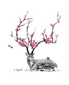 blossoming deer - without the spots, actually really like this. Best idea for my cherry blossom tattoo so far.