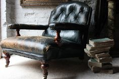 A Sumptuous Victorian Country House Mahogany & Leather Library Armchai – Doe & Hope