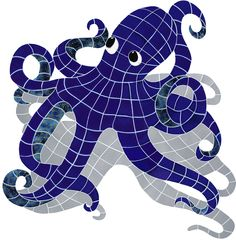 Octopus w/ Shadow Mosaic Tile Design by Artistry in Mosaics | Available at AquaBlu Mosaics