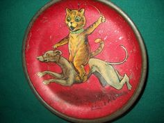 """Antique """" Louis Wain """" cat & greyhound Childs tin tea set plate Early 1900's (12/01/2011)"""