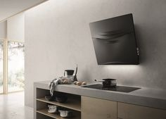 Wall-mounted Cristalplant® cooker hood CONCETTO SPAZIALE by Elica design Fabrizio Crisà