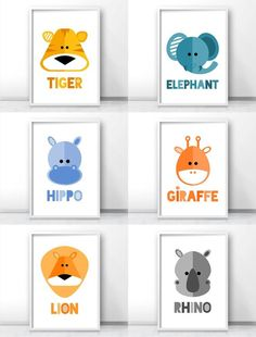 Safari nursery decor, Jungle nursery art prints, Modern kids wall art, tiger art, elephant art, hippo art, giraffe art, lion art, rhino art By LimitationFree on Etsy: