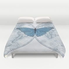 World Map Butterfly Duvet Cover  bed  bedroom travel by Mapology
