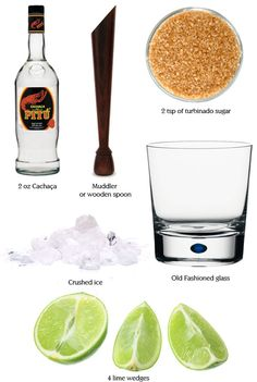 """""""How to mix a Caipirinha cocktail. All you need is Cachaça, sugar, crushed ice and lime."""" I like to use rum instead of Cachaça when I get this drink Summer Cocktails, Cocktail Drinks, Fun Drinks, Cocktail Recipes, Alcoholic Drinks, Beverages, Vodka Drinks, Christmas Cocktails, Drink Recipes"""