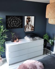 home accents bedroom Blue wall, pink accent, Deep blue bedroom, blue room Midnight Blue Bedroom, Dark Blue Bedroom Walls, Dark Blue Rooms, Blue And Pink Bedroom, Dark Blue Walls, Blue Bedroom Decor, Bedroom Colors, Blue Bedrooms, White Bedroom