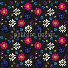 Lovely flowers Art Print by dukepope. Hand Drawn Flowers, Flower Art, Art Flowers, Cute Pattern, Vector Pattern, Surface Design, Tech Accessories, Black Backgrounds, Daisy