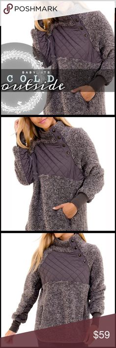 Two-Tone Sherpa Pullover TWO TONE PULL OVER JACKET *super soft two tone pull over *a number one choice pick, sold out and restocked five times. *cozy and warm *see also listing for two-tone charcoal color in the other listing in my closet Fabric: 100% Polyester *ship date to me 1/31 Boutique Jackets & Coats