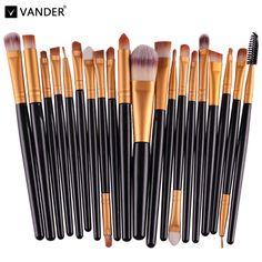 Pinceles de maquillaje 20 Unids Kabuki Pinceles Profesional Maquillaje Herramientas de Sistema de Cepillo de Sombra de Ojos Kit Set de Cosméticos de Maquillaje Cepillos Maquiagem