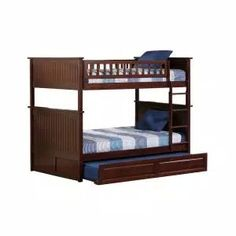 Harper & Bright Designs Espresso Twin Bunk Bed Over with Trundle Bed and End Ladder-SK000067AAP - The Home Depot Staircase Bunk Bed, Bunk Beds With Stairs, Bunk Bed With Trundle, Twin Bunk Beds, Twin Twin, Full Size Bunk Beds, Kids Toddler Bed, Wood Bunk Beds, Atlantic Furniture
