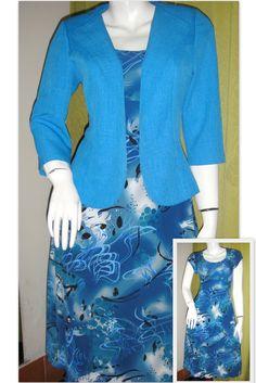 Vestido en algodón y chaqueta en lino, diseñado y confeccionado por Sandra Huerta Rojas, para damas del Conservador de bienes raíces, Arica 2010..