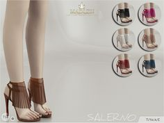 Madlen Salerno Shoes  High heeled sandals with fringe detail! Come in 7 colours (leather texture).You cannot change the mesh, but feel free to recolour it as long as you add original link in the description.If you can't see this creation in CAS, please update your game.If you're experiencing thumbnail problem, update your game (latest patch should solve the problem).Hope you'll like it!Enjoy!  DOWNLOAD
