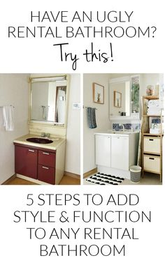 Bathroom Decor rental 5 Steps to Decorating an Ugly Rental Bathroom - Dont feel stuck with the dated look of your bathroom. Try these simple steps to add your own style without breaking the lease or the budget! Apartment Hacks, Apartment Makeover, Diy Apartment Decor, Apartment Kitchen, Cat Apartment, Studio Apartment, Apartment Living, Living Room, Rental Makeover