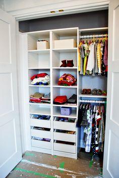 Rambling Renovators: Closet Envy | tall, narrow shelving with drawers for loose item storage