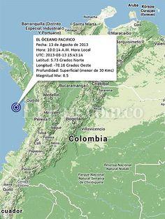 Temblor que sacudió al suroccidente de Colombia a las 10:43 a. m. de 13 de agosto del 2013 fue de magnitud 6.5, según el Servicio Geológico Colombiano. Epicentro fue en el Océano Pacífico a 99.61 kilómetros del noroeste de Nuquí, Chocó. Más detalles: http://www.elpais.com.co/elpais/colombia/noticias/temblor-sacudio-suroccidente-pais-manana-este-martes