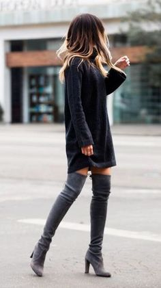 Black sweater dress & gray OTK boots