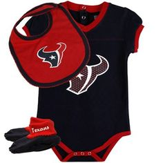 Houston Texans Infant Girls 3-Piece Creeper, Bib & Booties Set - Navy Blue/Red