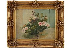 Oil Painting, Rose Bush at Window on OneKingsLane.com Framed Wall Art, Framed Art Prints, Wall Canvas, Rose Bush, Wall Pictures, Picture Wall, Roses, Window, Oil