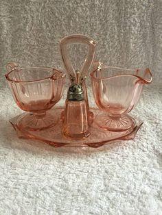 Pink Depression Glass Condiment Set